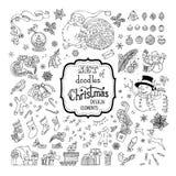 Insieme di vettore dei segni di Natale di scarabocchi, dei simboli, delle decorazioni e degli elementi di progettazione Fotografie Stock