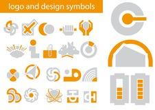Insieme di vettore dei simboli di disegno e di marchio Fotografie Stock