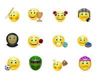 Insieme di vettore dei sorrisi sui giochi di sport di argomento Immagine Stock Libera da Diritti