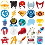 Insieme di vettore dei supereroi e delle icone del superman immagine stock libera da diritti