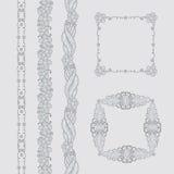 Insieme di vettore dei telai e dei confini del fiore della foglia di schizzo Ornamento senza cuciture di verdure decorato per gli Immagine Stock Libera da Diritti
