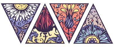 Insieme di vettore dei triangoli floreali luminosi Fotografia Stock