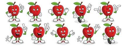 Insieme di vettore del carattere di Apple, mascotte della mela Immagine Stock