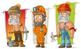 Insieme di vettore del carattere dello zappatore e del boscaiolo del fumetto royalty illustrazione gratis