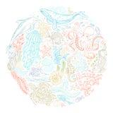 Insieme di vettore del cerchio dei contorni degli animali e delle piante dell'oceano Fotografia Stock