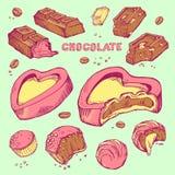 Insieme di vettore del cioccolato pungente schizzi colorato Rotoli dolci, barre, lustrate, fave di cacao Fotografie Stock Libere da Diritti