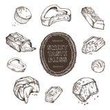 Insieme di vettore del cioccolato pungente schizzi disegnati a mano struttura fatta a mano e lettere Fotografia Stock Libera da Diritti