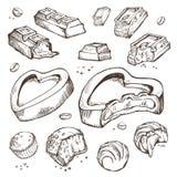 Insieme di vettore del cioccolato pungente schizzi Rotoli dolci, barre, lustrate, fave di cacao Oggetti isolati su una priorità b Fotografia Stock Libera da Diritti