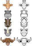 Insieme di vettore del fumetto selvaggio o degli animali del giardino zoologico. illustrazione vettoriale