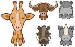 Insieme di vettore del fumetto selvaggio o degli animali del giardino zoologico. Fotografia Stock Libera da Diritti
