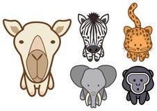Insieme di vettore del fumetto selvaggio o degli animali del giardino zoologico. Fotografia Stock
