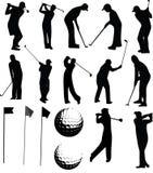 Insieme di vettore del giocatore di golf Fotografia Stock Libera da Diritti