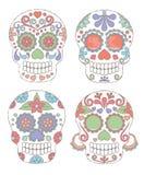Insieme di vettore del giorno di stile dell'acquerello dei crani morti Fotografia Stock Libera da Diritti