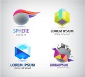 Insieme di vettore del logos astratto 3d Sfera, cristallo, segni della società di origami Immagine Stock