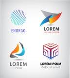 Insieme di vettore del logos astratto 3d Sfera, cubo, segni della società di origami Fotografie Stock