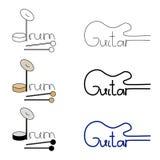 Insieme di vettore del logos del tamburo e della chitarra royalty illustrazione gratis