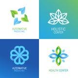 Insieme di vettore del logos e degli emblemi astratti illustrazione di stock