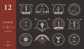 Insieme di vettore del logos e dei club di golf delle icone Fotografia Stock Libera da Diritti