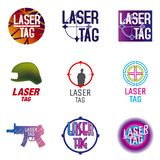 Insieme di vettore del logos per l'etichetta del laser illustrazione vettoriale