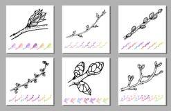 Insieme di vettore del modello del nero del germoglio del rene nella progettazione dell'impianto Flora dipinta a mano del giardin royalty illustrazione gratis