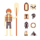 Insieme di vettore del rafting e delle icone di campeggio Fotografia Stock Libera da Diritti