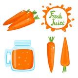Insieme di vettore del succo e della carota di carote isolati su bianco royalty illustrazione gratis
