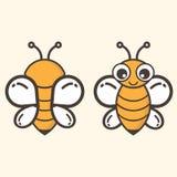 Insieme di vettore dell'ape del fumetto Fotografia Stock