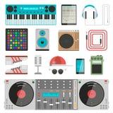 Insieme di vettore dell'attrezzatura di musica del DJ Fotografia Stock Libera da Diritti