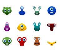 Insieme di vettore dell'emoticon divertente dei mostri Fotografia Stock Libera da Diritti