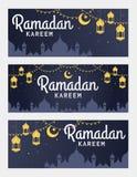 Insieme di vettore dell'insegna di orizzontale di Ramadan Kareem Fotografia Stock Libera da Diritti