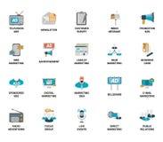 Insieme di vettore dell'introduzione sul mercato e delle icone piane di web dello spot pubblicitario Completamente editabile e di Fotografie Stock