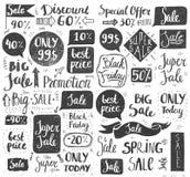 Insieme di vettore dell'iscrizione disegnata a mano di vendita di scarabocchio, tipografia, strutture, bolle Fotografie Stock Libere da Diritti