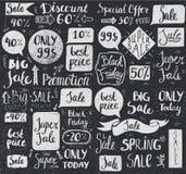 Insieme di vettore dell'iscrizione disegnata a mano di vendita di scarabocchio, tipografia, strutture, bolle Immagini Stock Libere da Diritti