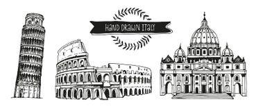 Insieme di vettore dell'Italia, raccolta disegnata a mano dei punti di riferimento italiani Fotografie Stock
