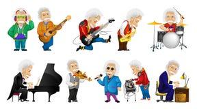 Insieme di vettore dell'uomo anziano che gioca le illustrazioni di musica Fotografie Stock Libere da Diritti
