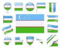 Insieme di vettore della bandiera dell'Uzbekistan illustrazione vettoriale