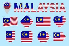 Insieme di vettore della bandiera della Malesia Forme geometriche differenti Stile piano Raccolta malese delle bandiere Può usare illustrazione vettoriale