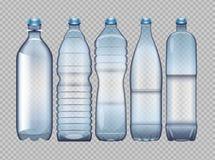 Insieme di vettore della bottiglia di plastica trasparente blu Immagine Stock