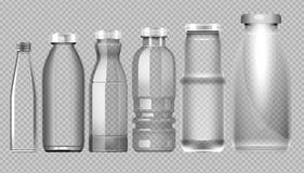 Insieme di vettore della bottiglia di vetro trasparente del barattolo Immagini Stock Libere da Diritti
