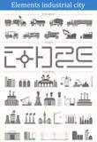 Insieme di vettore della città industriale degli elementi - costruzioni, strade e TR Immagine Stock