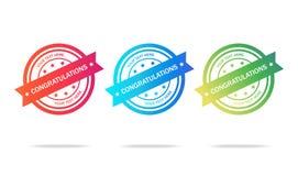 Insieme di vettore della congratulazione del logos immagini stock