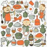 Insieme di vettore della cucina, elementi variopinti del fumetto Immagini Stock
