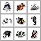 Insieme di vettore della flora e della fauna del mare con ombra lunga Fotografia Stock Libera da Diritti
