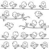 Insieme di vettore della linea Art Cartoon Birds Fotografia Stock