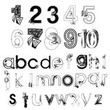 Insieme di vettore della mano astratta in bianco e nero che disegna le lettere ed i numeri moderni Fotografia Stock Libera da Diritti