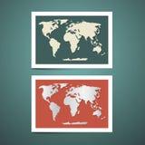 Insieme di vettore della mappa di mondo Fotografie Stock Libere da Diritti