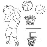 Insieme di vettore della palla, del cerchio e del giocatore di pallacanestro di pallacanestro illustrazione vettoriale