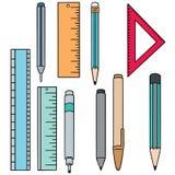 Insieme di vettore della penna, della matita e del righello royalty illustrazione gratis