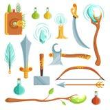 Insieme di vettore delle armi di magia di fantasia Illustrazioni per il gioco di computer illustrazione di stock