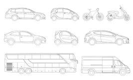 Insieme di vettore delle automobili delle icone del profilo Vista al trasporto laterale della città illustrazione di stock